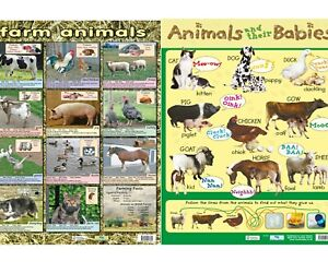 details about farm animals poster animals and babies poster 2 wallcharts