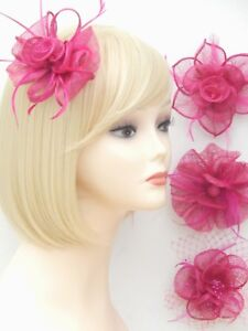 image is loading fuchsia pink fascinator brooch clip hair feather flower