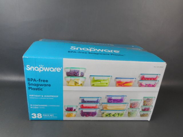 Plastic Food Storage Set, 38 Pieces, Snapware Food Storage (Complete) Opened Box 2