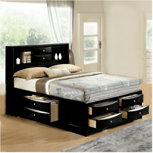 details about new ultimate 8 drawers storage black queen king bed modern bedroom furniture
