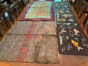 A Group of Three Chinese Qing Dynasty Textile Panels.