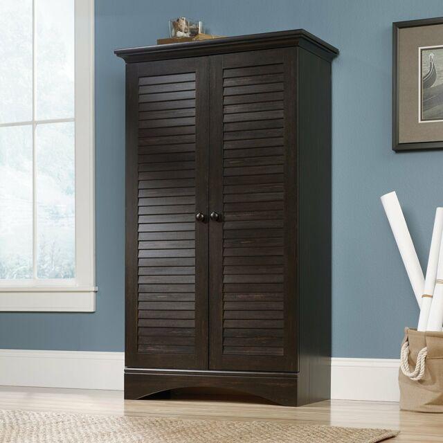 Espresso Wooden Storage Cabinet Kitchen Pantry Cupboard Organizer Tall Bathroom Ebay