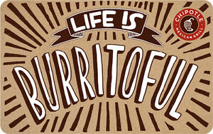 $10 / $25 Chipotle Physical Gift Card - Standard 1st Class Mail Delivery