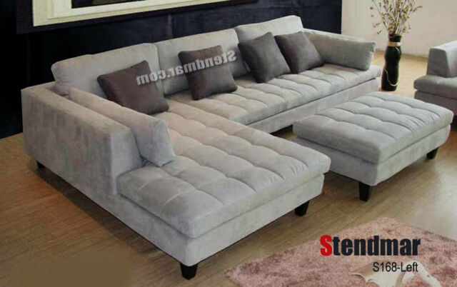 3 piece modern grey microfiber sectional sofa set s168lg
