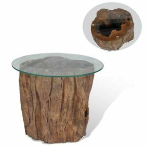 details sur vidaxl teck table basse 50x40cm table de salon mobilier de salon tronc d arbre