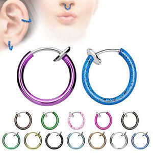 Septum Klemmring Fake Hoop Ring Spring Piercing Nasenpiercing Ohr Nasenring