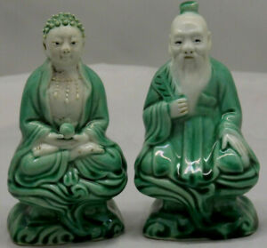 2 DECORATIVE ORIENTAL FIGURES - CHINESE FIGURES - SEATED BUDDHA - L@@K