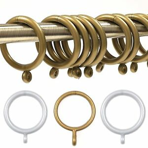 details about plastic curtain rod rings small large pole loop hook rail grey silver gold sets