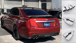 details about 3 5 quad staggered double wall angled exhaust tip for cadillac cts vsport 3 6tt