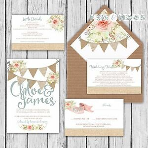 Details About Personalised Luxury Rustic Wedding Invitations Pretty Fl Bunting Packs Of 10