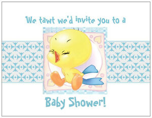 Details About 20 Baby Boy Tweety Bird Looney Tunes Shower Invitations Post Flat Cards