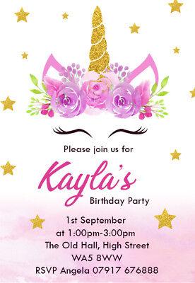 personalised unicorn birthday party invites childrens girl card invitations un11 ebay