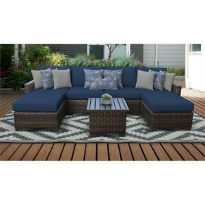 details about kathy ireland river brook 7 piece outdoor wicker patio furniture set 07a in navy
