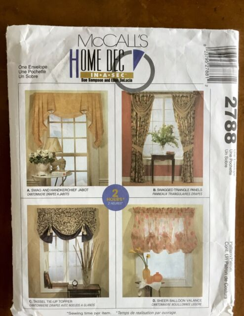 mccalls window valance swag jabot curtains sewing pattern 2788 oop