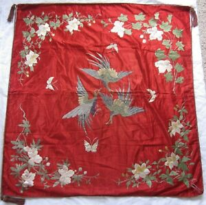 Antique QING Chinese red silk embroidered large panel 3 flying cranes & flowers