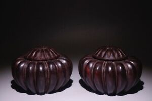 Qing Danasty Chinese antique Jar for Chess/Go Carving in Rosewood 9.3*14cm 1096g