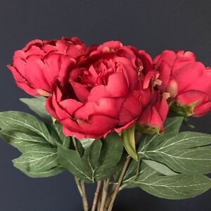 Bunch of Faux Silk Red Peonies   Artificial Silk Flowers  Peony Stem     Image is loading Bunch of Faux Silk Red Peonies Artificial Silk