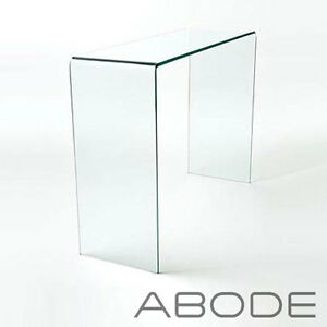 details about curved glass console table small large clear dining bent hall end table side