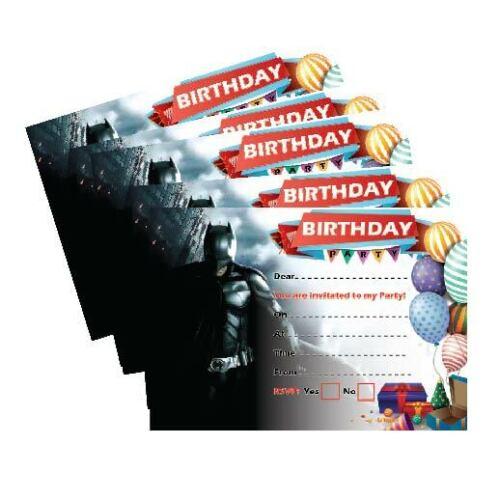 celebrations occasions x24 batman birthday invitation 250gsm cards boys girls kids party home furniture diy mhg co ke