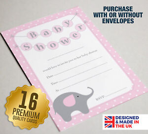 Details About 16 Pink Baby Shower Invitations A6 Size Guest Cards Elephant Theme Design