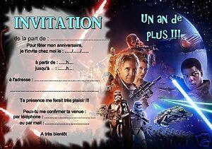 details sur 5 ou 12 cartes invitation anniversaire starwars ref 392