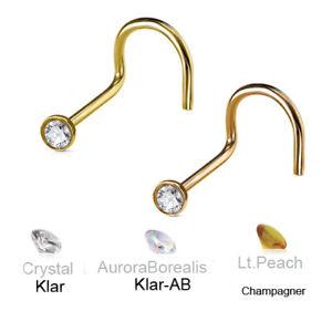 Gold Rosegold Nasen Piercing Stecker Spirale mit Kristall 0,8mm 1,0mm glitzer