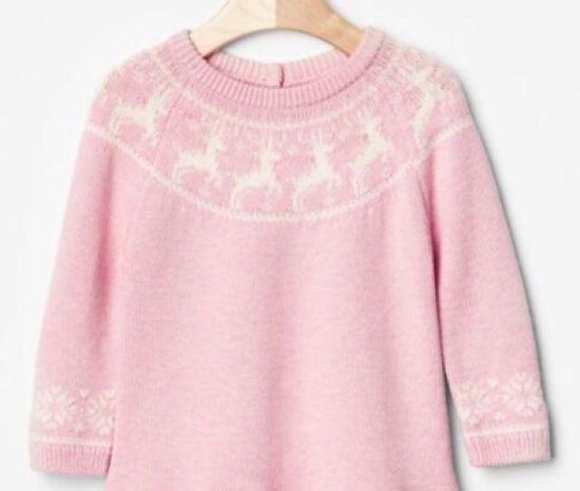 Gap Baby Toddler Girls Size   Months Pink Reindeer Christmas Sweater Dress
