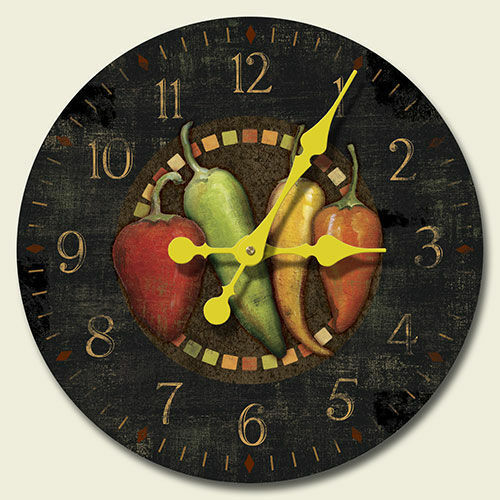 Clock Pepper Chili Wall Kitchen