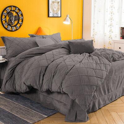 pintuck velvet dark gray duvet cover set 3pc king cal king size set home decor ebay