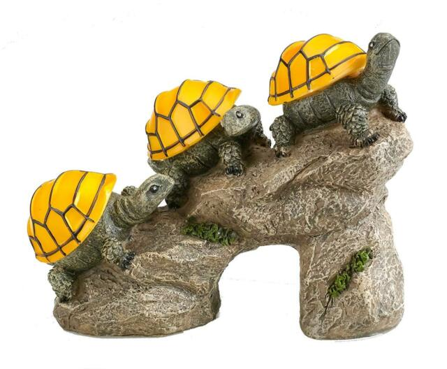 solar powered turtles on log outdoor accent lighting led garden light decor