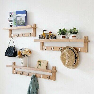 coat rack wall mounted bamboo wooden hook rack w 5 hooks for hallway bathroom us ebay