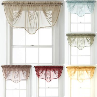 1pc weavy beaded waterfall valance voile sheer window curtain rod pocket topper ebay