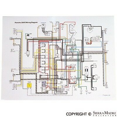 full color wiring diagram porsche 356c/sc 6465  ebay