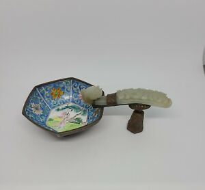 Chinese antique enamel bowl with jade handle