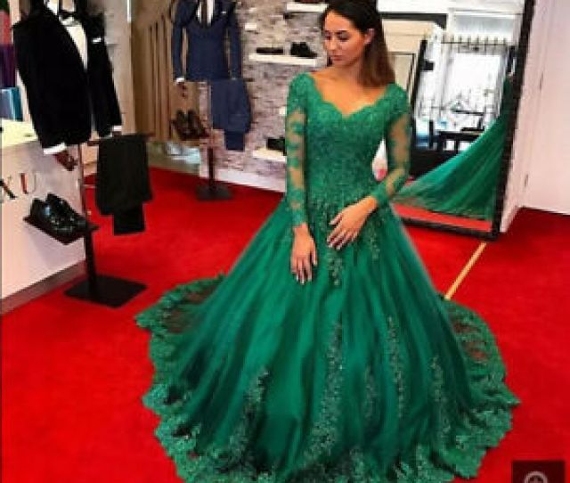 Image Is Loading Emerald Green Long Sleeve Prom Dress Formal Evening