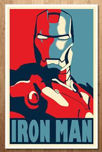details zu iron man avengers tony stark movie prop hope shepard fairey poster marvel comics