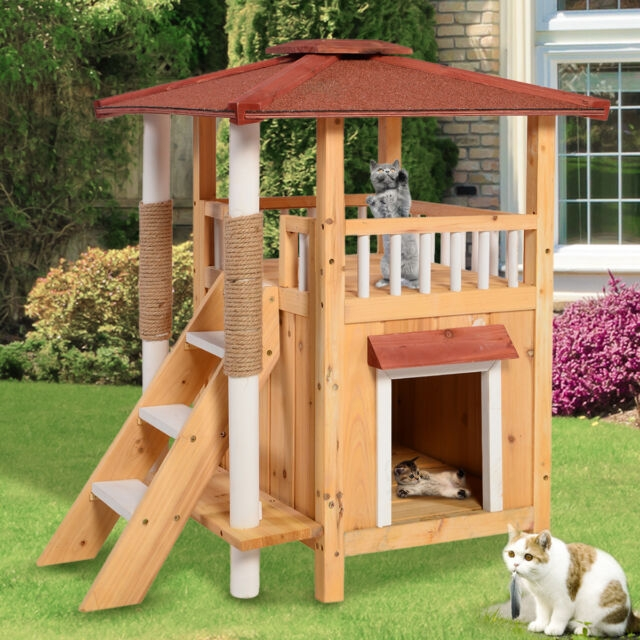 Cat House Pet Shelter Roof Condo Wood Steps Balcony Puppy | Outdoor Steps For Sale