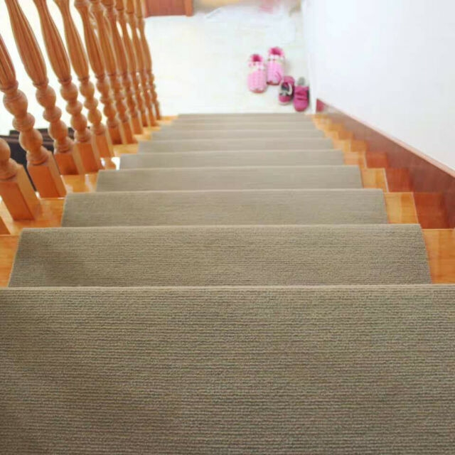 European Pastoral Carpet Stair Tread Mat Non Slip Step Rug | Non Slip Stair Treads Carpet | Self Adhesive | Slip Resistant Rubber Backing | Step | Semi Circle | Adhesive Padding