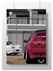 nissan skyline gtr r32 car poster