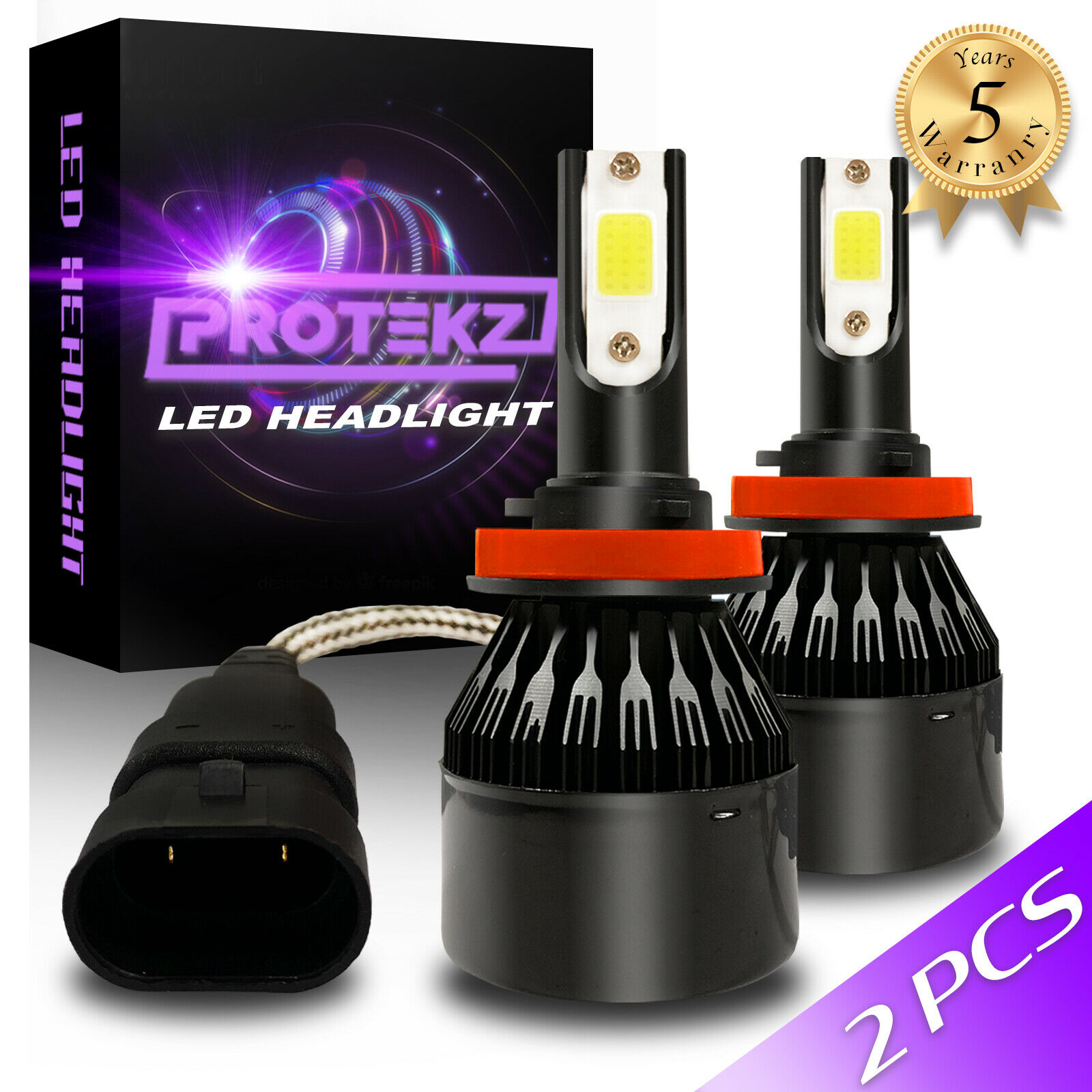 Protekz 488W CREE H13 9008 Hi/Lo beams LED headlight Kit 48800LM 6000K bulb Pair