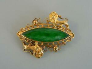 """Vintage Chinese 1 7/16"""" Pin Jade 18K Gold 2 Lions 8 Grams Signed WS"""