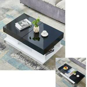 details about sliding top high gloss coffee table storage unit modern solid design living room