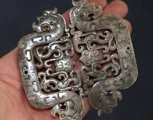 Antique Chinese pair carved archaic jade dragons, 19th century Qing Dynasty FINE