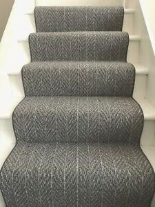 Light Grey Chevron Pattern Carpet Stair Runner With Whipped Edge | Light Grey Carpet Stairs | Industrial | Runner | Modern | Grey Vinyl Flooring | Living Room
