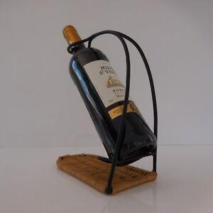 details sur porte bouteille fer forge rotin tresse design xxe 1970 france