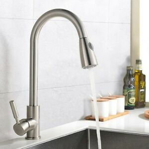 details about hardware house single handle gooseneck kitchen faucet with sprayer