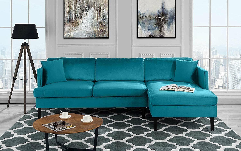 Mid Century Modern Velvet Sectional Sofa L Shape Couch W Wooden Legs Blue