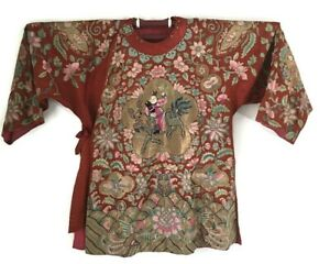 Antique Qing Chinese Red Silk Metallic Gold Embroidered Figural Motif Robe