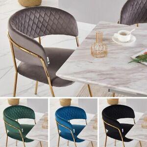 details sur velours gris chaise salle a manger avec or pieds moderne avec diamant cousu