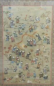 """Antique Chinese Silk embroidery """"Boys Day Parade"""" UNFRAMED"""